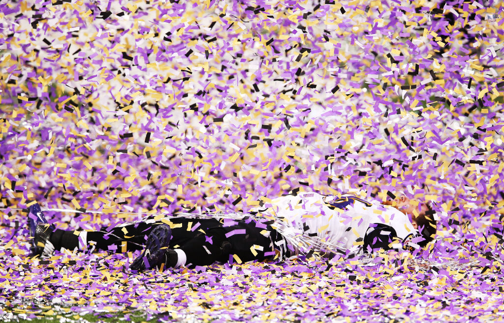 Snow angels in the confetti to celebrate? Yes, please!