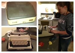 My husband bought me a typewriter a old manual portable typewriter. :) I am so happy I can't take it. <3