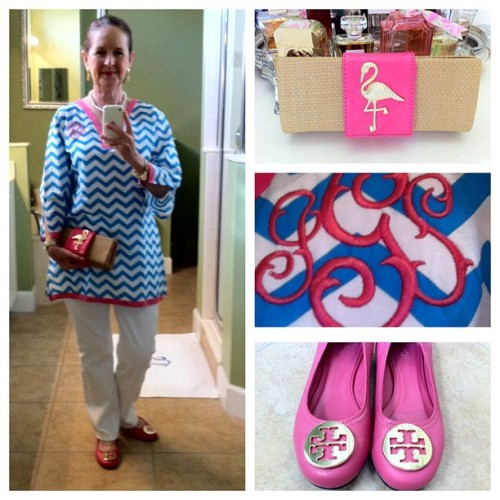 OOTD.  #chevron #whitedenim #toryburch #aqua #white #flamingo #pink #monogrammania #whitegrosgrainponybow #rolex #charmbracelet #cartier #whatiwore #ootd #seniorfashion
