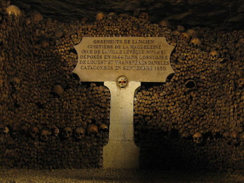"Parisian Awe-ssuary – The Bone-Filled Catacombs Underneath the City of Lights  The Catacombs of Paris are a series of underground ossuaries that run for about 280km, or 170 miles.  The anonymous bones of the Catacombs are comingled in intricate patterns to form walls, columns, and artistic sculptures.  All of the bones from this monument came from local cemeteries in the 18th and 19th centuries. The area in and around Paris has been permanently occupied since the Roman era.  When Paris was part of the Roman Empire, people buried their dead on the outskirts of the city.  Parisians changed to internments in consecrated burial grounds within the city after the rise of Christianity. Cimetière des Innocents, or the Cemetery of the Innocents, was the oldest of these church graveyards.  The corpses from eighteen parishes, two hospitals, and the city morgue were all buried here.  By the 14th century, charneling on cemetery grounds became necessary because of the high density of bodies.  Eventually corpses were stacked on top of each other for meters underground and others had to be interred in mass graves. The problem became so bad in the 18th century, after ten centuries of burials and decay, that bodies could no longer skeletonize in the soil.  Many of corpses saponified in the ground or putrified in huge holes that produced a rotting smell.  The cemetery became a health hazard because it was a source of disease and infection. In 1785, the city prohibited further burials at the Cemetery of the Innocents and appointed a commission to find the best plan to remove the estimated two million remains buried there.  The commission decided that the abandoned quarries beneath Paris were the best place to entomb the bones.  The project had the added benefit of reinforcing the unstable mines, which had a nasty habit of collapsing and bringing down houses. On April 7th 1786, a part of the tunnel system was consecrated and the long process of transferring the bones to the deserted mine was started.  The remains were moved by processions at night in black-draped carts and wagons that were led by chanting clergy.  After fifteen months, all of the bones from the Cemetery of Innocents were interned in the Catacombs.  The project was so successful that city officials repeated this effort with other local burial grounds.   When work was completed in the 1880's, there were bones from an estimated six million bodies in the Catacombs. The remains were left piled in unorganized heaps until 1810, when Napoleon authorized the General Inspector of the Quarries, Héricart de Thury, to renovate the Catacombs.  De Thury had the workers build artistic facades made of skulls and long bones behind which piles of the remaining bones were placed.  The Crypt of the Sepulchral Lamp (above) and the Rotonde des Tibias are some of the Catacomb's most famous skull-ptures.  The Crypt of the Sepulchral Lamp, the first monument built in the catacombs, is in the Place de Saint-Laurent where the bones from the Saint-Laurent Cemetery were arranged.  The Sepulchral Lamp was originally used by the quarrymen for light and airflow but de Thury kept it as a centerpiece for this chamber.  The Rotonde des Tibias is a huge column constructed out of skulls, tibiae, and femora is in the final section of the walking tour. There are over 200 entrances to the Catacombs because of its history as a mine, but there is only one ""official"" entrance, located at 1, avenue du Colonel Henri Rol-Tanguy – 75014 Paris.  Because there is too many entry points for security to monitor at all times, people are able to sneak in regularly. The cavers who illegally explore the Catacombs are called cataphiles.  These people spends hundreds and thousands of hours down in the intricate cave system, some become so familiar with the tunnels that they don't need maps.  Many of these urban explorers are dedicated filmmakers, artists, and writers with good intentions, but there are a few people who sneak in and are destructive.  In fact, the Catacombs have been shut down a few times over the years because of vandalism. The Catacombs are open daily from 10am to 5pm, except Mondays and public holidays. But get there early because wait times are estimated to between three and four hours. References: Koudounaris, P. (2011).  The Empire of Death.  New York, NY: Thames and Hudson. Ubelaker, D.H. Zarenk, K.M. (2010).  Adipocere: What is known after two centuries of Research. Forensic Science International. 2008 (2011): 167-172. Retrieved from: http://pawsoflife-org.k9handleracademy.com/Library/HRD/Ubelaker_2011.pdf"