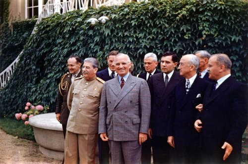 Truman and Stalin, in Color Another great color photo of President Truman with someone you might not expect – Joseph Stalin. Truman and Stalin met while attending the Potsdam Conference in Germany in July of 1945, shortly after the end of World War II in Europe. More — from the Truman Library