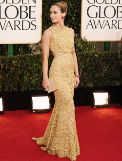 letmestyleya:  Emily Blunt is absolutely stunning in Michael Kors at the 70th Annual Golden Globe Awards.  I forgive you John
