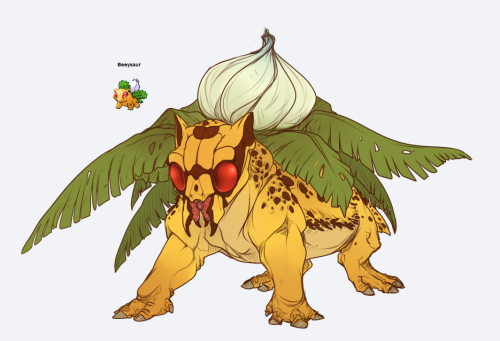 tumblingteguru:  Beedril + Ivysaur Jumping the pokefusion bandwagon because I can. uvu