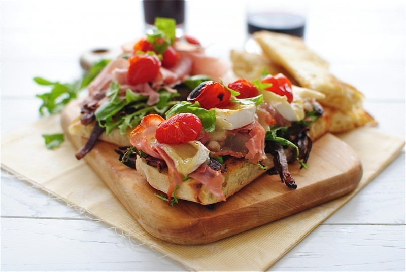 foodopia:  toasted ciabatta sandwiches with arugula, prosciutto, and brie: recipe here