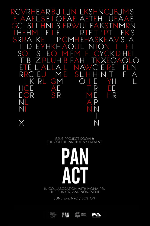 issueprojectroom:  Just announced! PAN_ACT hits NY in June: 16 shows exploring the intersections of conceptual art in underground dance and experimental music. Tickets on sale Wednesday, full schedule here: http://issueprojectroom.org/program/pan-act  What an unbelievable set of shows. I feel very lucky to be in New York and wrapping up the school year just when this program begins.