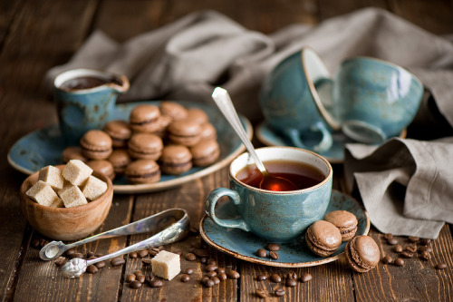 bella-illusione:  Chocolate macarons  Macarons and tea! My favorite…the macarons are just the right size for me, as well. They're not the easiest treat to miniaturize, either; I'm quite impressed!  ((50th post on this bizarre rp blog. woo?))