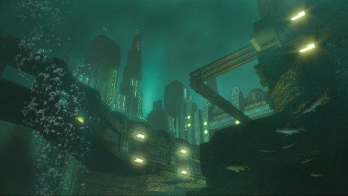 assorted-goodness:  Take a trip to Rapture. Stare at the gif for at least 30 seconds. Then look at at any of the images of Rapture. (via: Reddit user supergalacticcaptain)