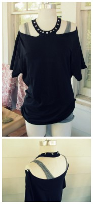truebluemeandyou:  DIY No Sew Studded Halter Tee Shirt Restyle Tutorial from Wobisobi here. Really clever tutorial using the tee's collar for the halter top. Also an easy to follow video if you are a visual learner. For tons more no sew tee restyles and easy jewelry DIYs from Wobisobi go here: truebluemeandyou.tumblr.com/tagged/wobisobi