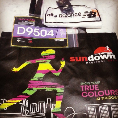 Sleep can wait. Now I can't wait for Sundown. Wooohooooooo! #MarathonSG #HalfMarathon #SundownMarathon2013 #RacePack #Bib #RunnerTee #NewBalance #ShowYourTrueColours