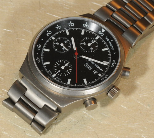 "onthedash:  For Sale:  Porsche Design, by Eterna, in Titanium … powered by Valjoux 7750. This is the most beautiful shade of titanium you will ever see, rich and warm. Dial looks perfect to my eye and under 10X loupe. Only the lightest scratches on the case … condition is ""near mint"". Full length bracelet (slightly over 8 inches) is very comfortable to wear. Stop / stop / reset is accurate. More photos here. $1,300 firm, by personal or bank check, or wire transfer. Buyer pays shipping and insurance. No PayPal.  Own a watch from the personal collection of the man behind @onthedash!"