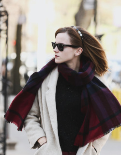 Emma Watson in New York City; April 2013.   Just stop it with the cool.