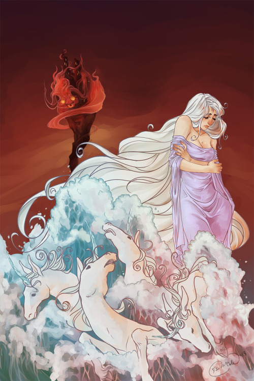 The Last Unicorn - Peter S. Beagel Illustration. Almost finished with the decorative touches to make into a book cover!