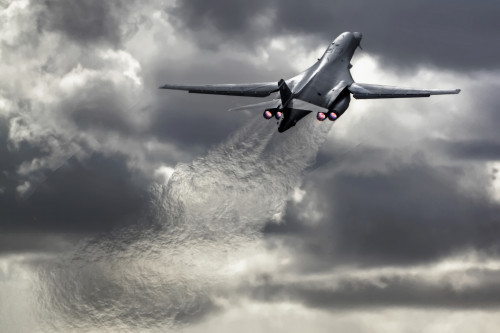 B-1B Lancer - With a top speed of Mach 1.25 and a service ceiling of 60,000 feet, this is a fast long range support aircraft ready to deliver.