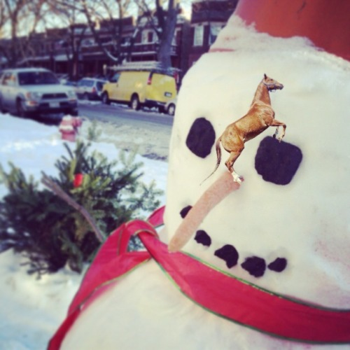 This tiny horse made this big snowman!