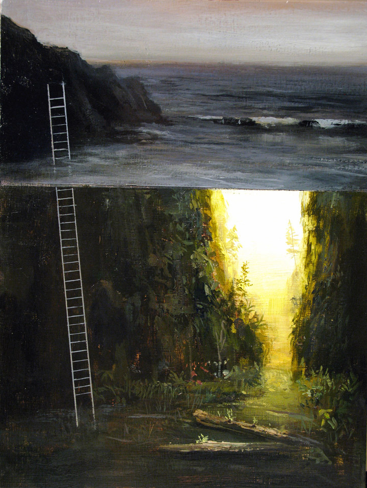 "Jeremy Miranda, Oregon Ladder (study), acrylic on panel, 9"" x 12"" , 2013"