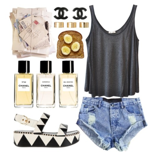 starring role by sofie-way featuring denim hot shorts ❤ liked on PolyvoreAmerican Vintage trapeze tank / One Teaspoon denim hot shorts / Sergio Rossi wedge sandals, $740 / ASOS  / 4 Ways to Amp Up Your Morning Toast