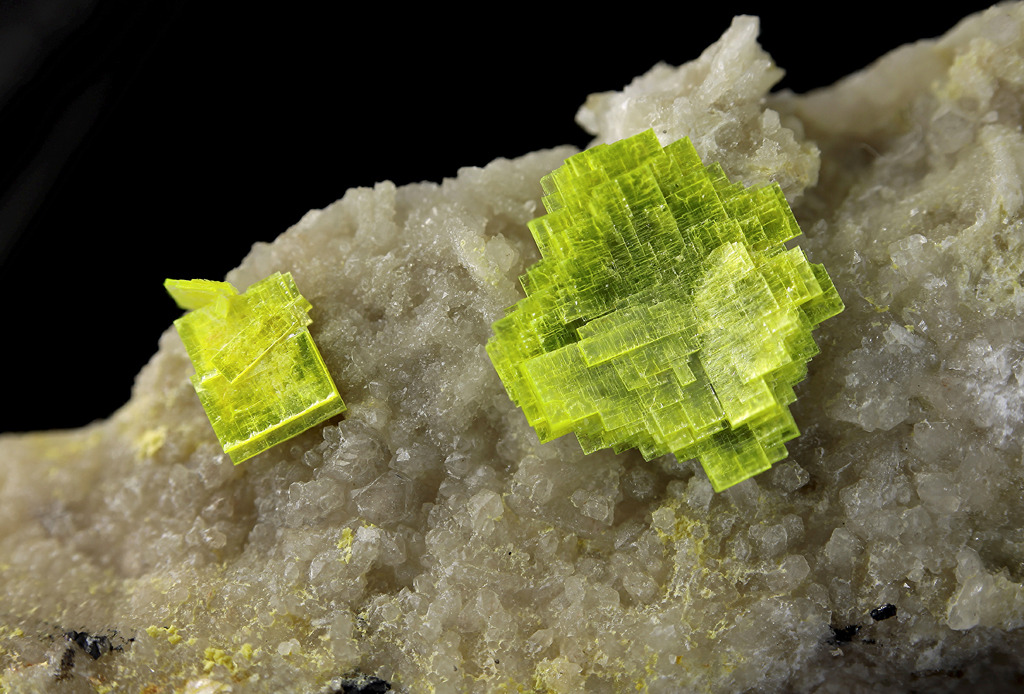 themineralogist:  Autunite from France ..and along with Azurite, this is also one of my faves