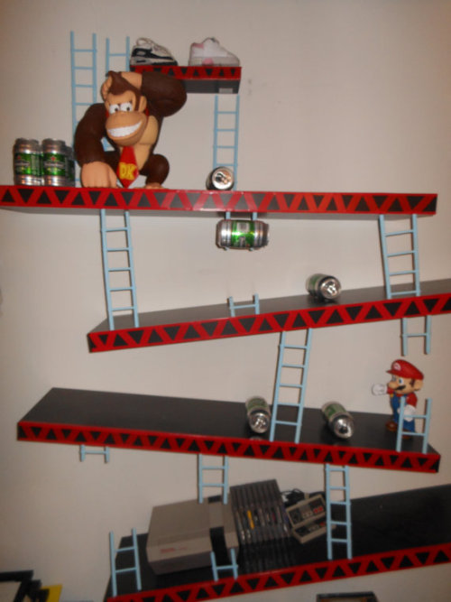gamefreaksnz:  Nintendo Donkey Kong Shelves Mario by KeoKraft Custom made Donkey Kong Shelves. PEASE NOTE * Donkey Kong figure, Mario figure, sneakers, and Nintendo and games are NOT included.*