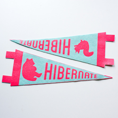 oliviamew:stayhomeclub: Hibernate pennants, new today at Stay Home Club!