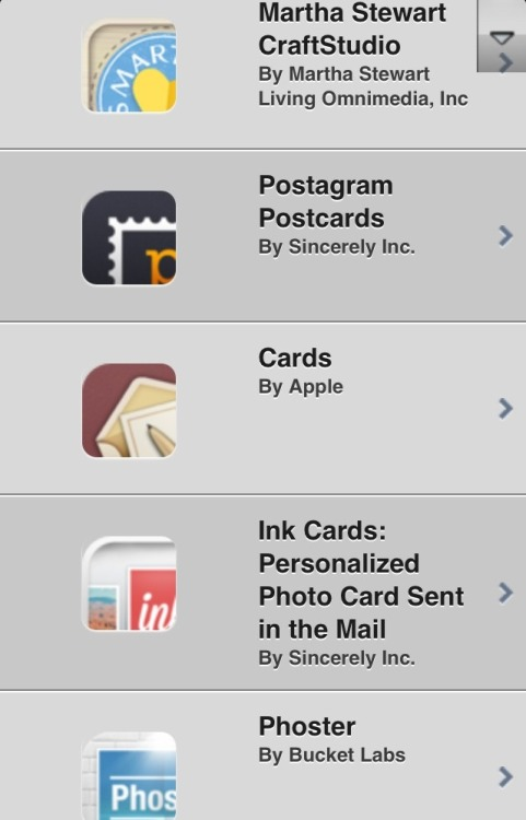 Apps on iOS for sending cards.