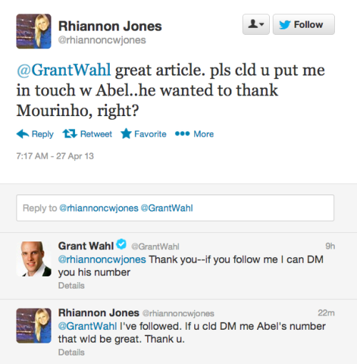 RMTV's Rhiannon Jones, contacting Grant Wahl, author of the Abel Rodríguez story. Seems like there could be more news to come.