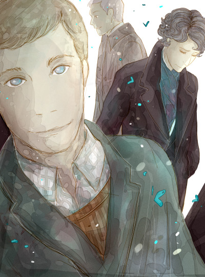 bakerstreetbabes:  thepalefool:  Friendship. John Watson, Sherlock Holmes and Greg Lestrade for my dear friend Solrosan.  I could finish it between my studies. I hope you like it. :D  Lovely!