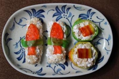 gastropost:  From Gastroposter Jenny Roger: Sushi is also for dessert. Rice Krispies, Marshmallow Fluff, Fruit Roll-Ups, and Haribo Clown Fish, make a sweet sushi end to your meal. It's vegan, dairy and gluten free.