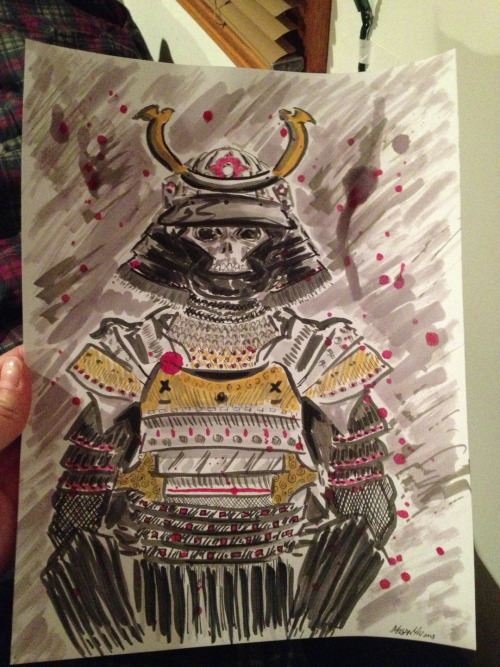 © 2013 Megan Yiu. Samurai guy done with inks and Copics.
