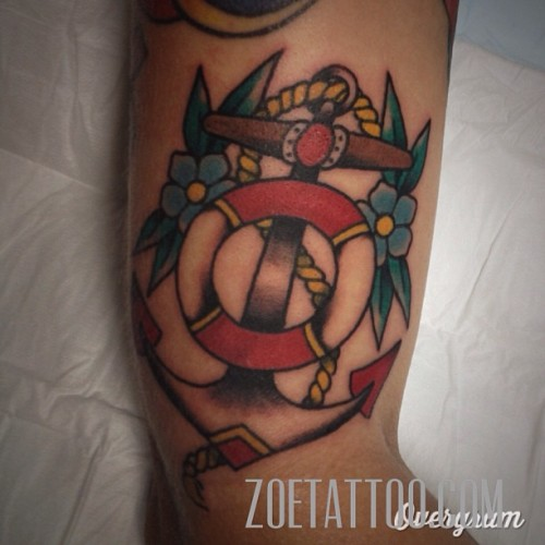 A distorted #anchor #thirdeyetattoo #thirdeyemelbourne #zoetattoo  (at Third Eye Tattoo)