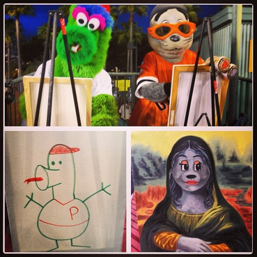 Lou Seal vs Phillie Phanatic Paint-Off - you decide, who has a more talented brush? #attpark #SFGiants