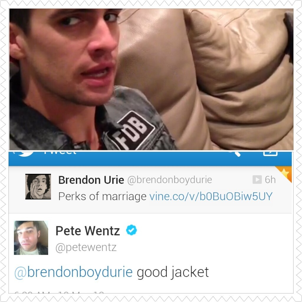 falloutboyneverdie:  petrickslovechild:  That momment when Brendons wearing a FOB jacket.  good jacket… I'm gonna steal it.