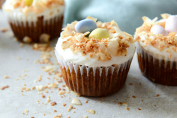 gastrogirl:  banana carrot cake cupcakes with coconut cream cheese frosting.