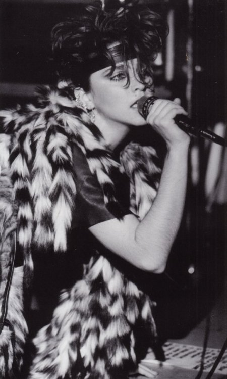 Madonna still an underground singer somewhere in New York city . Early 80's.