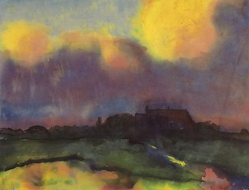 yama-bato:  Emil Nolde (1867–1956) Haus Seebüll, c. 1940 Watercolor on Japan paper 13 7/8 x 18 1/8 in. (35.2 x 46 cm) via