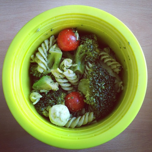 pasta salad with homemade pesto