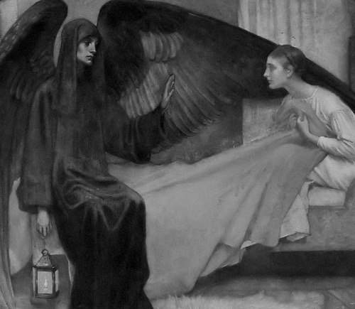"anatomyofmelancholy:  Marianne Stokes, ""Death and the Maiden"" (1900, detail)"