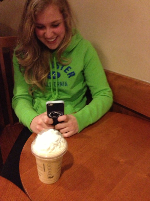 leonmcgann:  -annoying:  i took a picture of a white girl taking a picture of her starbucks  she looks so happy