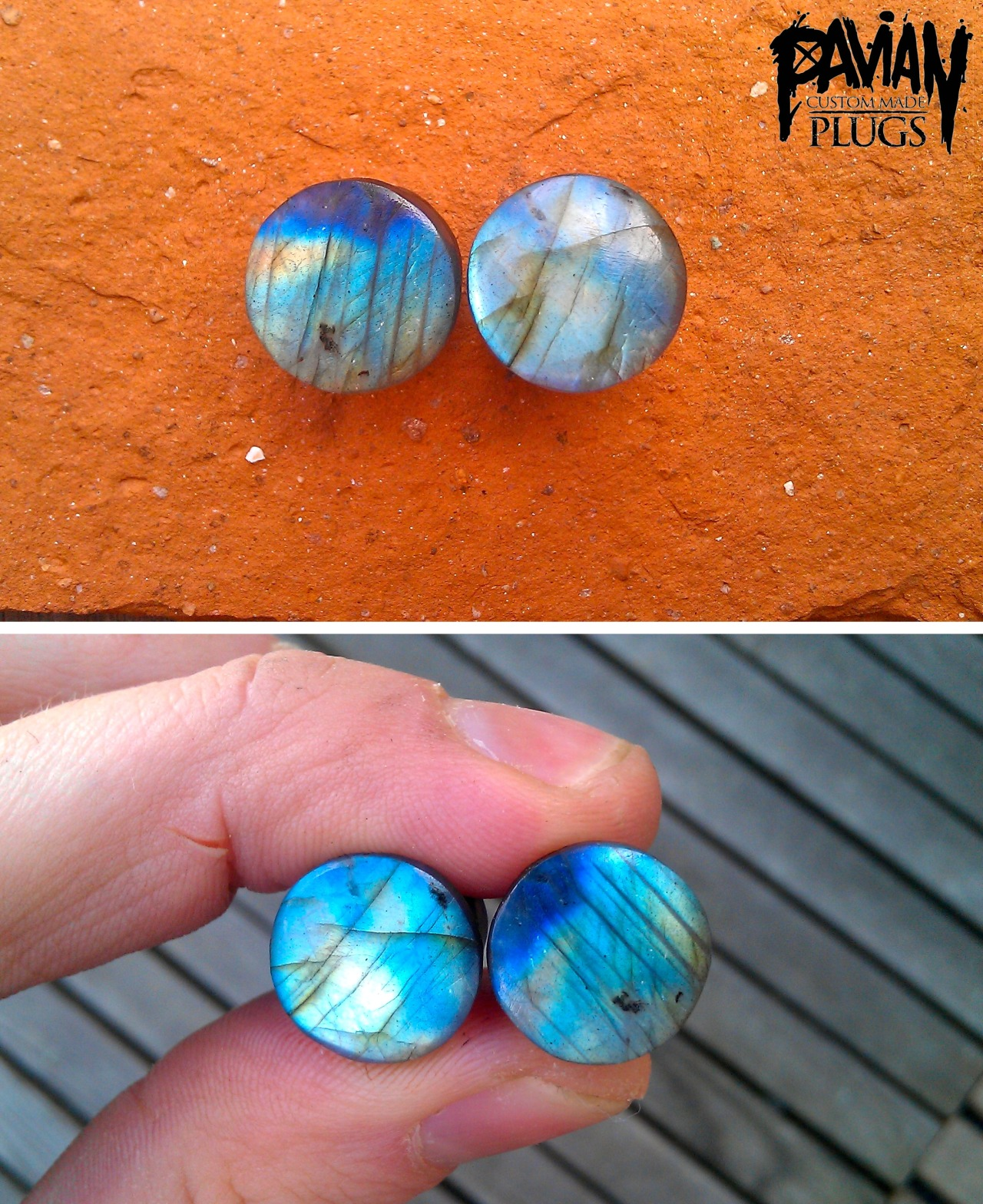 10mm labradorite with a full flash.www.facebook.com/pavianplugsorganics