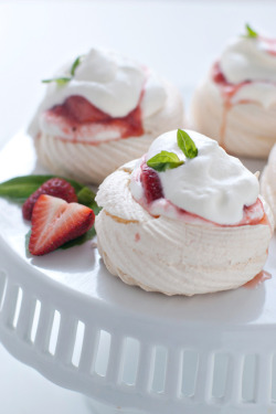 Meringue Nests with Basil Scented Strawberry-Rhubarb Compote Ingredients For the Nests: 3 large egg whites, room temperature 1/2 teaspoon vanilla extract 1/4 teaspoon cream of tartar 3/4 cup sugar Ingredients For the Basil Scented Strawberry-Rhubarb Compote: 1/2 lb strawberries, rinsed, hulled and quartered + ½ cup of strawberries, rinsed, hulled and chopped 1/2 lb of rhubarb 2 Tablespoons of honey 1 Tablespoon of water 3-4 whole basil leaves Ingredients For the Whipped Cream 1/2 cup of heavy cream 2 Tablespoons powdered sugar For full recipe click here.