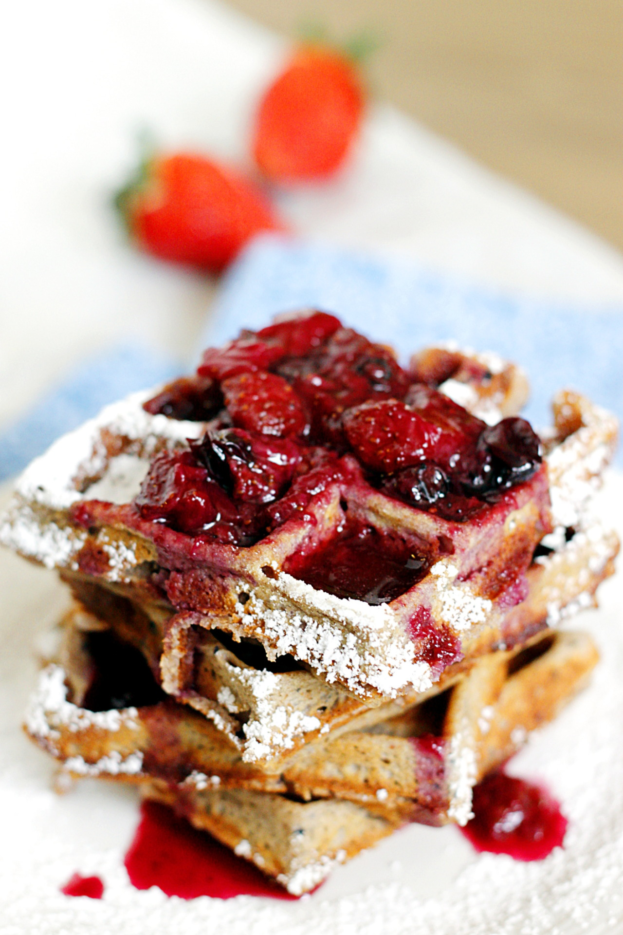 Whole Wheat Berry Waffles with Strawberry Blueberry Syrup