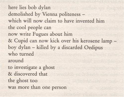 Excerpt from Tarantula, by Bob Dylan.