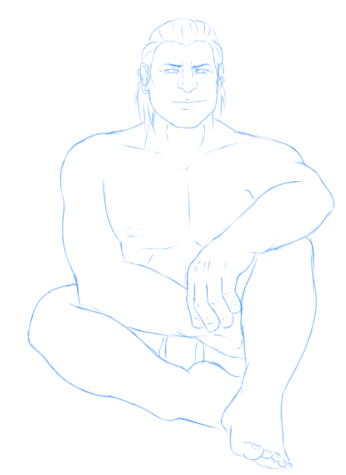 hawkethevixen:  [[Oops have a naked Varric sketch for Varric Porn Week.]]
