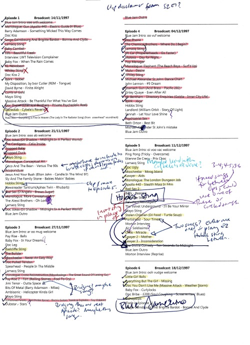Here's the rundown for our Blue Jam best-of with my annotations. You can see the sketches and songs we cut out, and I've also marked the ones I moved around to give the program that seamless feel. I think these are considered to be the definitive names for the sketches, and the title and artist for each song is also noted.