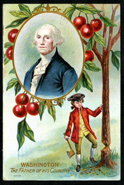 "On this day in 1789, George Washington's inaugural ball was held. Page 14, Card 3 ""Postcard. Washington's birthday commemorative - illustration of young George Washington chopping a cherry tree with inset portrait of Washington as an adult. Mailed from Washington, D.C."" From the Bettie La Barbe Postcard Album held by The Charleston Archive at the Charleston County Public Library."