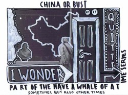 China or Bust from The 'Have a Whale of a Time Series', 2013 Paint-pen and Permanent Marker on Photograph