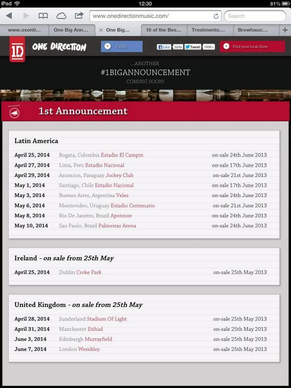 People may be excited about 1D's world tour. I'm more excited they mastered the art of time travel.Dublin, Ireland AND Bogata, Colombia on the same day. April 25th, 2014.After Peru, South America they travel to Sunderland, UK for the next day THEN back to South America to perform in Paraguay.
