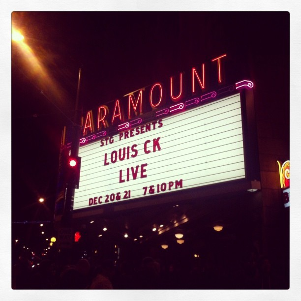 Any closer and we are under the stage. Thanks @louisck! (at Paramount Theatre)