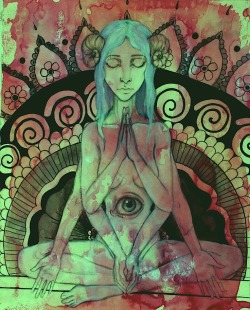 red black green eye pink meditation yoga blue hair meditate zen third eye chakra ohm meditating sixth chakra jackie sax 6 arms