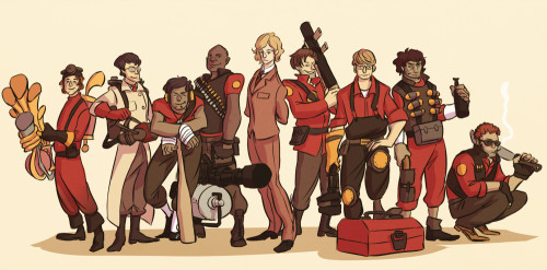 perplexingly:  Les Mis/Team Fortress 2 crossover… Am I banned from the fandom yet? From left to right: Jehan (Pyro), Joly (Medic), Courfeyrac (Scout), Bossuet (Heavy), Enjolras (Spy), Bahorel (Soldier), Combeferre (Engineer), Grantaire (Demoman), Feuilly (Sniper)