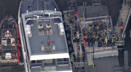UPDATE: 58 injured when commuter ferry crashes in Manhattan  (Photo: NBC News) A commuter ferry crashed in Lower Manhattan on Wednesday morning, injuring 57 people, including one who was in critical condition with head wounds, officials said. Read the complete story.